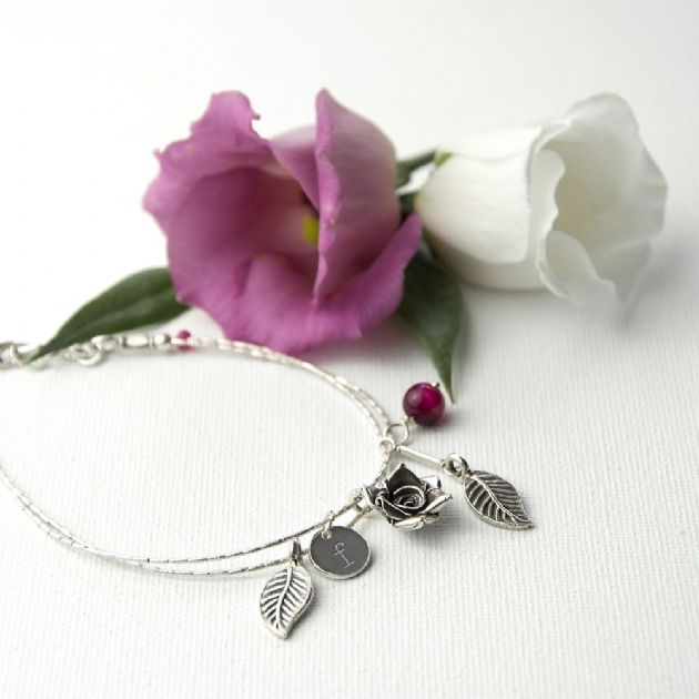 Personalised Rose Bracelet With Indian Ruby Stones